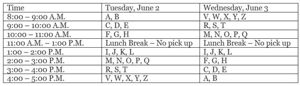 schedule for pickup by last name