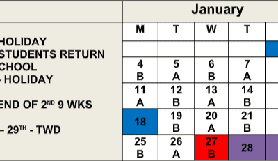 January 2021 A/B Days Schedule