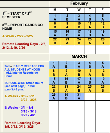 February and March A/B Weeks and Days Schedule