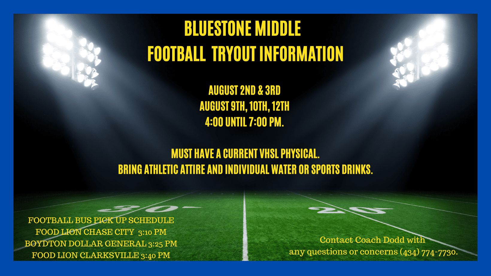 Football Tryout Information