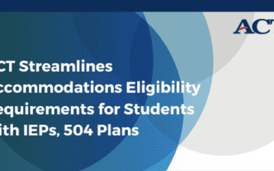 ACT Streamlines Accommodations Eligibility Requirements for Students with IEPs, 504 Plans